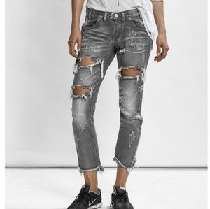 One Teaspoon Awesome Baggies Ripped Jeans …